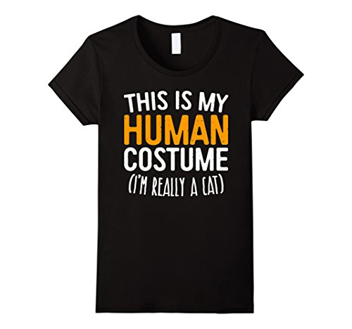 The Cat In The Hat Female Costume (Womens This Is My Human Costume I'm Really A Cat T-Shirt Medium Black)