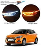 PR Car Led Strip for Headlight White Daytime Running Light, Turn Signal Yellow/Amber Indicator Light Lamp DRL 12v (Left&Right), 24 Inches Dual Tape Compatible with Hyundai Elite i20