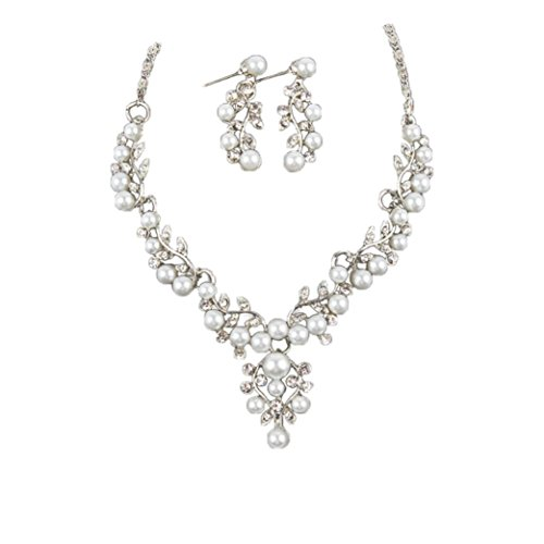 Costume Pearl Bridal Jewelry (Kollmert Women Wedding Bridal Faux Pearl Jewelry Set 2017 New Rhinestone Short Necklace Earrings - Silver)