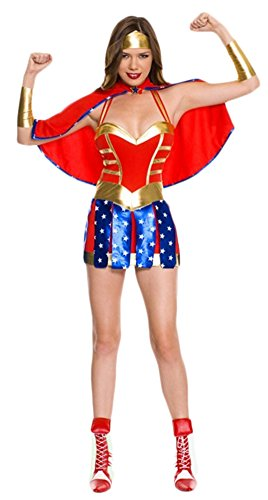 Ace Halloween Adult Women's Sexy Superwoman Supergirl Costumes (Superwoman Halloween Costumes)