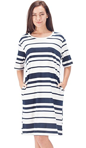 WEWINK CUKOO Womens Striped Dress Sleepwear Short Sleeve Sleeping Shirt 100% Cotton Nightshirt (Nightshirts Sleepwear Women For)