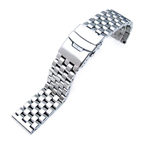 (20mm Brushed Engineer Solid Link 316l Stainless Steel Watch Bracelet Band)