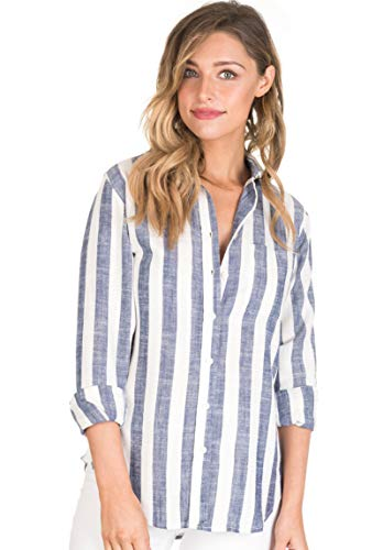 Vertical Striped Linen - CAMIXA Women's Striped Shirt Casual Long Sleeve Button-Down Drapy Collar Blouse S White/Blue