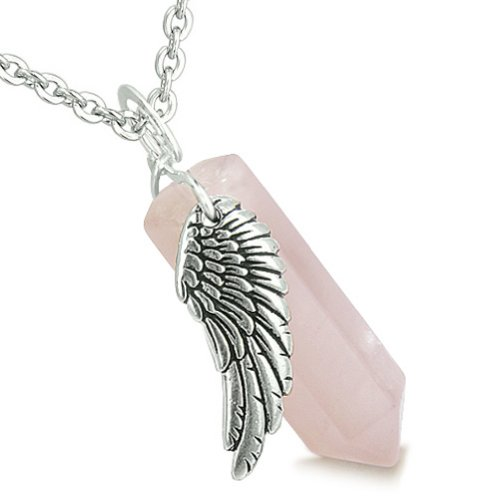 BestAmulets Angel Wing Magic Wand Crystal Point Rose Quartz Healing Pendant 18 Inch Necklace