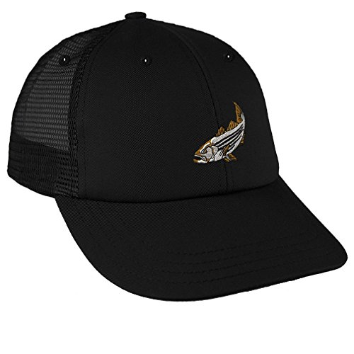 Striped Bass Embroidery Design Low Crown Mesh Golf Snapback Hat Black