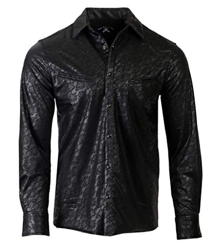 Men's Faux Leather Long Sleeve Western Inspired Rock n Roll Shirt 372 (2XL) Black