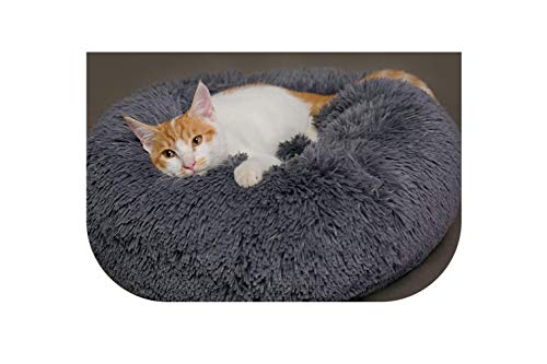Pet Soft Plush Round Dog Beds Mats Warm Cotton Cat Mattress Lounger Sleeping Bed for Small Medium Dogs Breathable Cushion Kennel,Gray,L