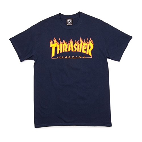 Thrasher Flame T-Shirt (Medium, Navy) by Thrasher (Image #1)
