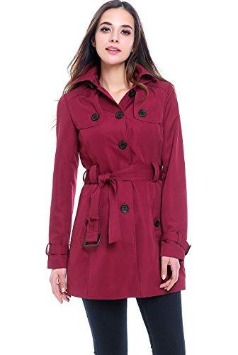 Hooded Mid Length Coat - BGSD Women's Celia Hooded Mid Length Trench Coat - Raspberry XS