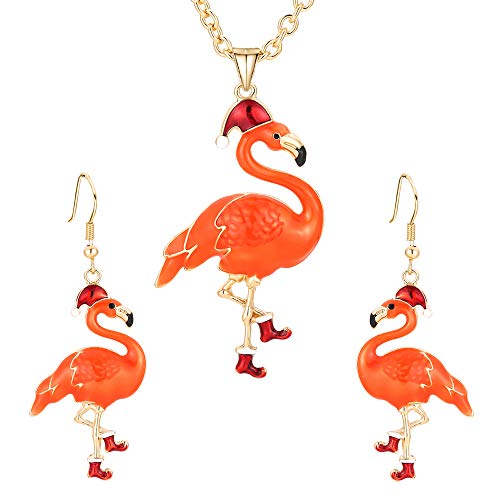 Christmas Jewelry Sets Gift For Women Girls,Thanksgiving Xmas Holiday Jewelry Pendant Necklace Dangle Earrings Set (Christmas Elk,Mermaid,Snowman,Cat,Turkey,Flamingo, Peacock,Dolphin,owl)