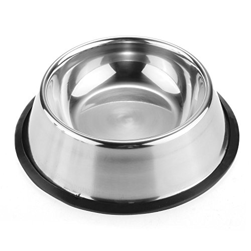 FTXJ Pets Dog/Cat Stainless Steel Feeding Food Dish Water Bowls Non Slip (XS)