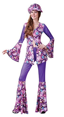 Ladies Groovy Hippy Woman Costume for 60s 70s Hippie Fancy Dress Outfit Adult by Partypackage Ltd (Sixties Outfit)