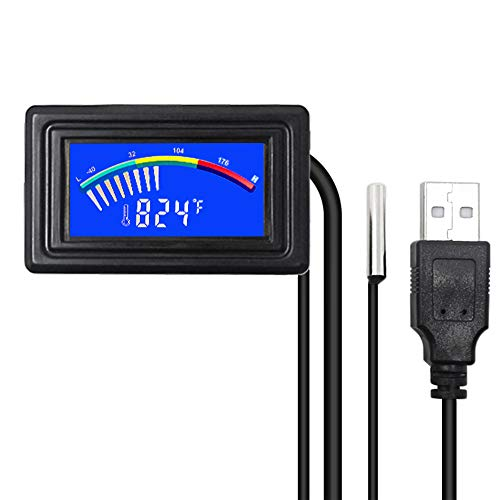 KETOTEK Digital Aquarium Computer Thermometer,USB Temperature Meter Gauge Car Thermometer Celsius/Fahrenheit LCD Display,Waterproof NTC Probe For Fish Tank PC Automotive