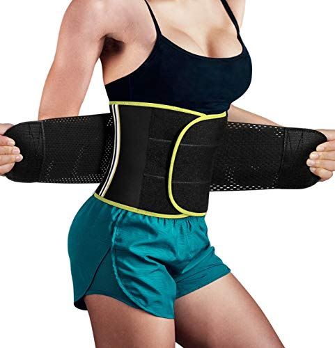 - Hourglass Waist Trainer Trimmer Slimming Belt - Hot Neoprene Sauna Sweat Belly Band Body Shaper for Weight Loss Back Support (Yellow with Black, M (Waistline 29.5''-32.3''))