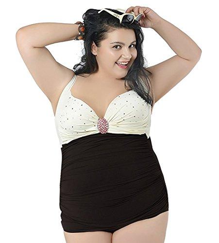 15c74c716f0 KDHJJOLY Soft womens 1 piece bikini swimwear bathing suits skirt plus size  White 3XL Hot