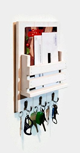 Renewed Décor Sydney Slat Front Mail Organizer and Key Holder, Available with up to 3 key hooks and available in 20 different colors ()