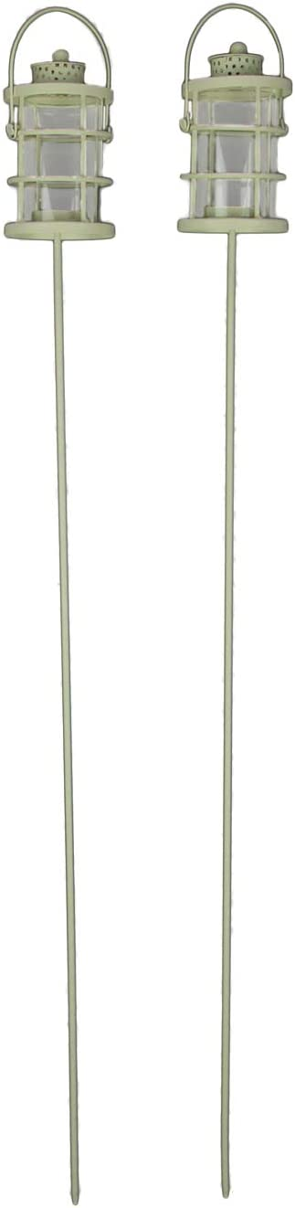 Audrey's Off-White Metal Garden Stake Outdoor Tealight Holders Set of 2