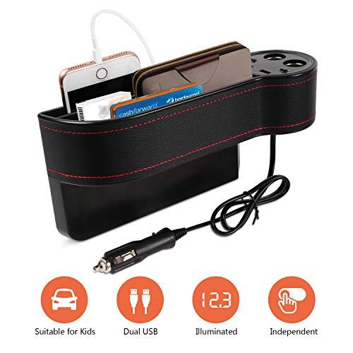 Mookis - Organizador de espacio para asiento de coche de piel sintética con 2 mecheros, 2 puertos USB de carga rápida, organiza tus probabilidades y extremos para una fácil conducción