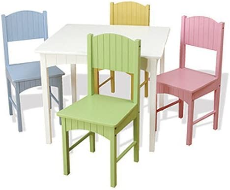 Enjoyable Kidkraft Nantucket Kids Wooden Table 4 Chairs Set With Wainscoting Detail Pastel Short Links Chair Design For Home Short Linksinfo