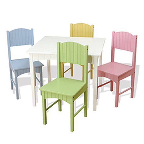 - KidKraft Nantucket Table & 4 Pastel Chairs