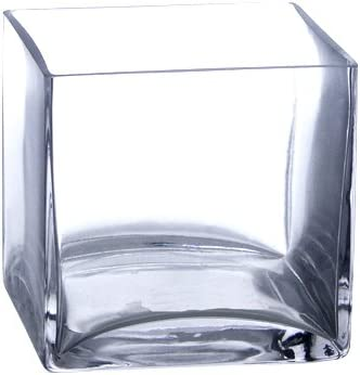 Candles4Less – Bulk 12 Pieces 5 Clear Glass Square Vase Case of 12