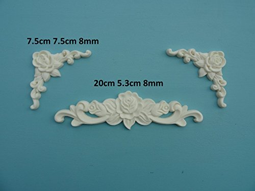 Decorative rose center & rose corners x 2 applique onlay furniture moulding Z5 ()