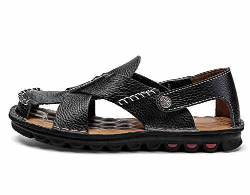 - GLSHI Men New Casual Leather Beach Sandals 2018 Summer Breathable Sandals Outdoor Wading Shoes Waterproof Non-slip (Color : Black, Size : 44)