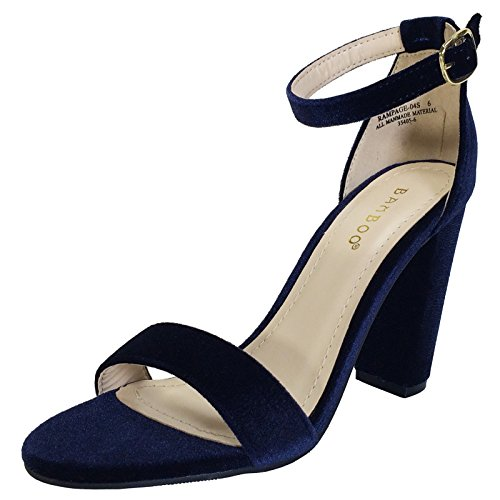 Blue Sandals Strap - BAMBOO Women's Single Band Chunky Heel Sandal With Ankle Strap, Navy Blue Velour, 8.5 B US