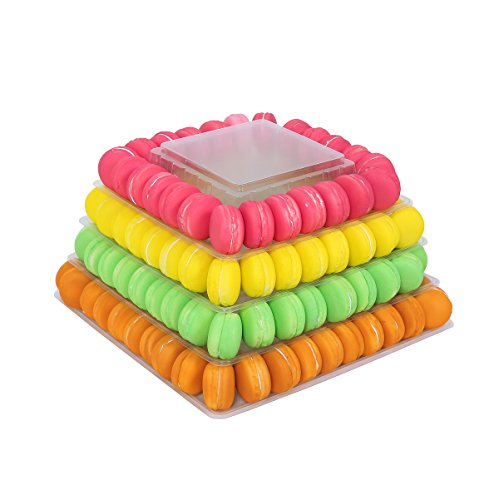 4 Tier Clear Square Plastic Macaron Tower Stand Wedding Birthday -