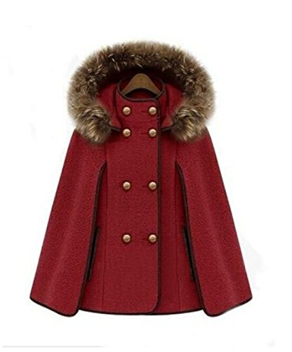 mcdslrgo Winter Damen Lady Kapuze Wolle Webpelz Umhang Fledermaus Cape Jacke Poncho Mantel Winter Warm Mantel