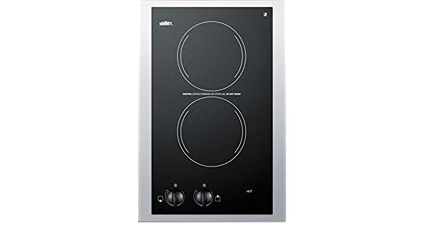 Summit CR2110TK15 15 Electric Cooktop with 2 Heating Elements Push-to-Turn Controls Heat Indicator Light ADA Compliant 115 Volts in