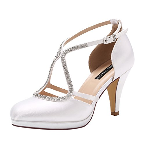 ERIJUNOR E0260D Women Comfort Low Heel Closed-Toe Ankle Strap Platform Dyeable Satin Bridal Wedding Shoes White Size 7