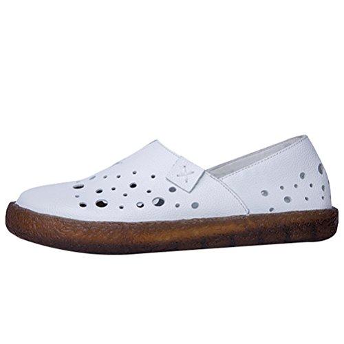 MatchLife Damen Geschlossene Ballerinas klassische Lederschuhe Loafers Slip-Ons Style2-Weiß