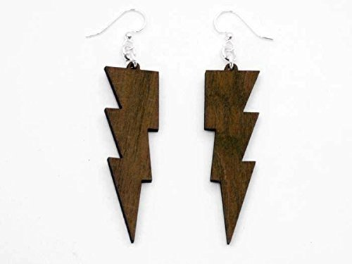 [Brown Thunder Lightning Bolts Wooden Earrings Jewelry] (Thunder Lightning Costume)