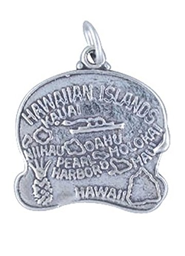 Sterling Silver Hawaii State Charm (Sterling Silver HAWAII State Map Outline Word Charm)