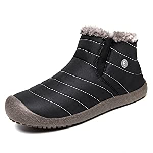 UBFEN Men Women Shoes Winter Warm Fully Fur Lined Snow Boots Ankle Waterproof Outdoor Slip on Casual