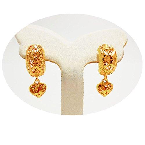 Thai Earrings Drop Dangle 22k 23k 24k Thai Baht Yellow Gold Plated ()