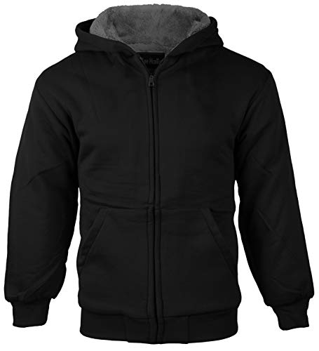 (vkwear Boys Kids Athletic Soft Sherpa Lined Fleece Zip Up Hoodie Sweater Jacket (Large (14-16), Black))