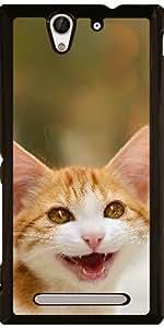 Funda para Sony Xperia C3 - Lindo Miau Gatito Sonriente
