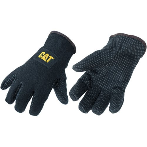 Cat Cat015300l Jersey PVC Dotted Palm Gloves, Large Black (Pack of -
