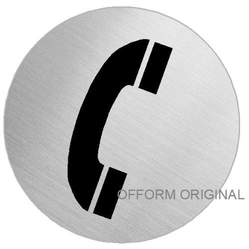 OFFORM Señal pictograma en acero inox Ø 100mm 'Teléfono' No.7556