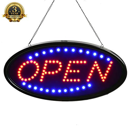 Open Sign LED for Business, 19x10 LED Sign flashing Oval blue, Large Store open sign LED not Neon, Bright Bar Lights Signs Outdoor Light up Signs, Programmable led open signs, Window, Shop, Bar, Salon from OPEN Signs