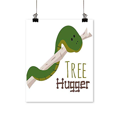 Artwork for Home Decorations Snake Hang from Hugger Love Mascot Humor Reptil Comic Home Green Home Decor Wall Art,20
