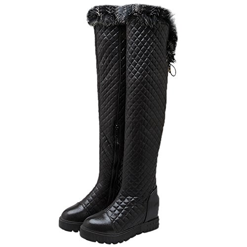 Rhombus Knee Women Winter Over Rabbit the Fur Knee Boots High HooH Platform Warm Boots Black qPqzrT