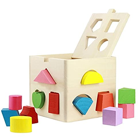 Babrit 13 Holes Intelligence Shape Sorter Cognitive and Matching Wooden Geometric Shape Sorting Box (Montessori One Year Old)