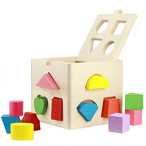 Shape Sorting Bus (Babrit 13 Holes Intelligence Shape Sorter Cognitive and Matching Wooden Geometric Shape Sorting)
