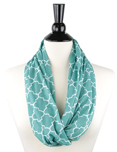 (Pop Fashion Teal Scarf, Infinity Scarf, Infinity Scarves, Fashion Scarves with Zipper Pocket & Pattern)