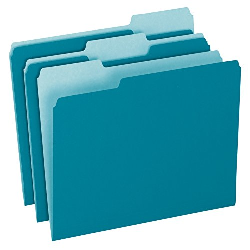 Teal Blue Color (Pendaflex Two-Tone Color File Folders, Letter Size, 1/3 Cut, Teal, 100 Per box (152 1/3)