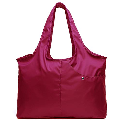 Shoulder Bag for Women, Waterproof Shopping Lightweight Work Purse and Handbag Travel Tote Oxford Nylon Large Capacity Hobo (Hotpink1)