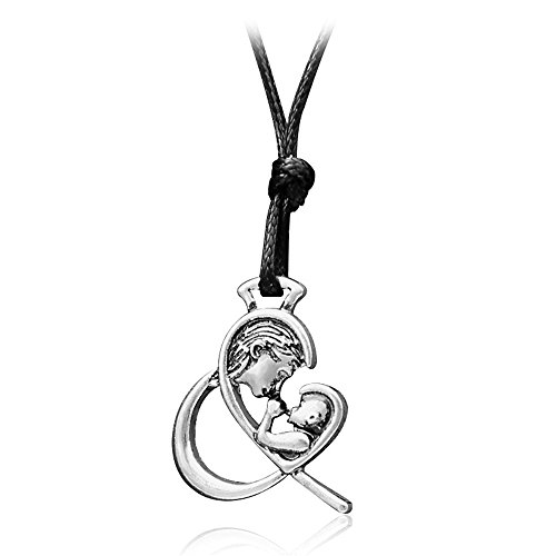 JUESJ Mother's Kiss Mother Child Heart Pendant Necklace for Mother's Day - Boy Pendant Kiss